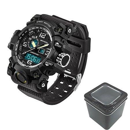 Relógio Masculino Sanda Militar Sport Anti-Shock Dual-Time 742 Black Silver