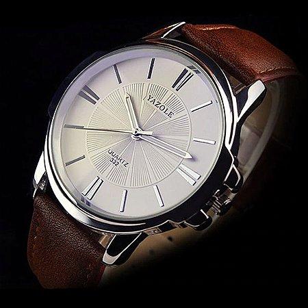 Relógio Masculino Luxo Yazole 332 Branco Caixa Prata Pulseira Marrom Couro