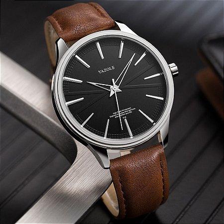 Relógio Masculino Luxo Yazole Design Premiado 512 Prata Preto Pulseira Marrom
