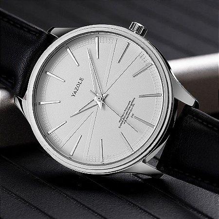 Relógio Masculino Luxo Yazole Design Premiado 512 Prata Branco Pulseira Couro