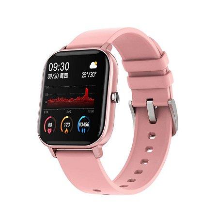 Smartwatch P8 Oxímetro Whatsapp Passos Calorias Batimentos Android e iOS Rosa Pink