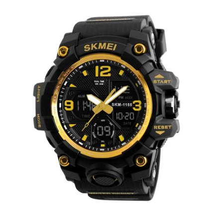Relógio Masculino Anti-Shock Skmei 1155 Digital Esporte Preto Dourado