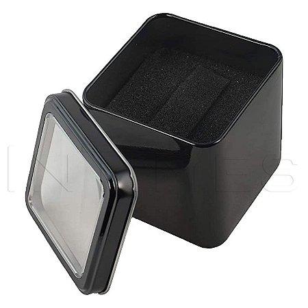 Caixinha Quadrada Estojo Lata Embalagem Caixa Relógio Preta