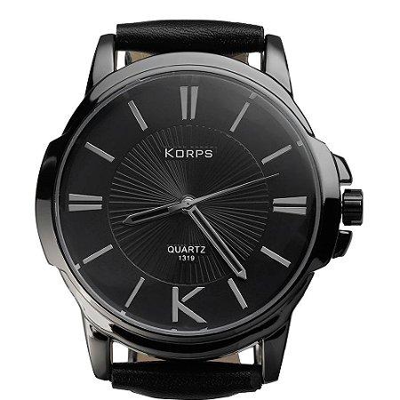 Relógio Masculino Luxo Korps 1319 Diamante Negro Pulseira Couro Preta