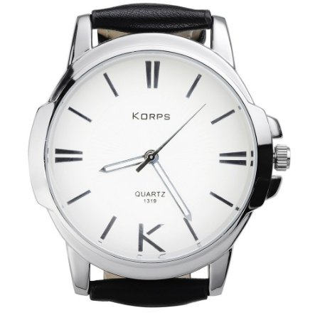 Relógio Luxo Masculino Korps 1319 Prata Fundo Branco Pulseira Couro Preta