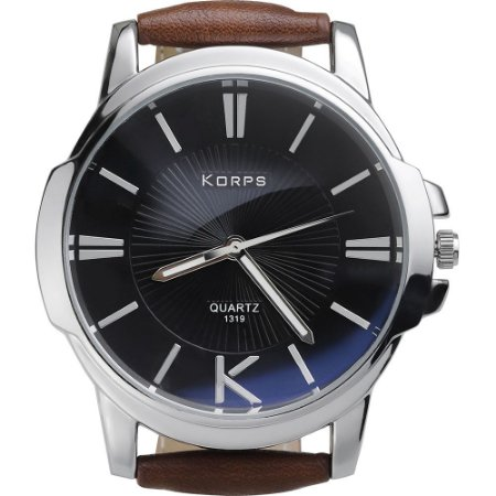Relógio Luxo Masculino Korps 1319 Prata Fundo Preto Pulseira Couro Marrom
