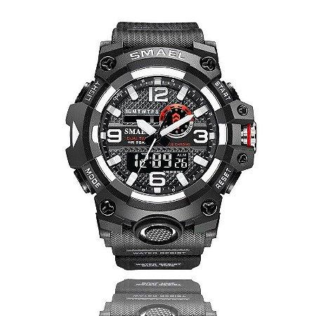 Relógio Masculino Smael Esporte 8035 Anti-Shock Analógico Digital Silver