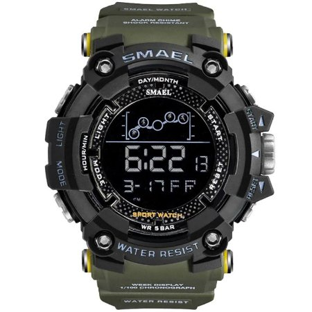Relógio Masculino Smael Esporte 1802 Anti-Shock Digital Prova D'Agua Verde