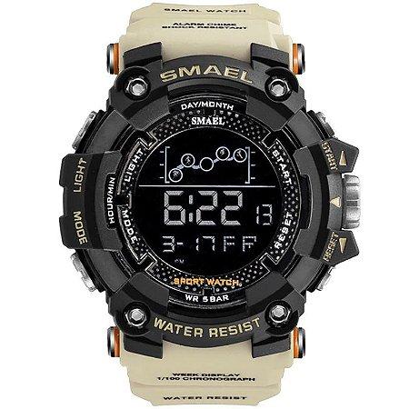 Relógio Masculino Smael Esporte 1802 Anti-Shock Digital Prova D'Agua Kaki