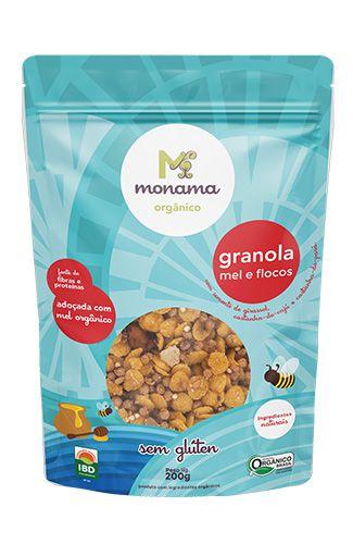 Granola Monama Flocos e Mel Saudável Sem Glúten Org 200g