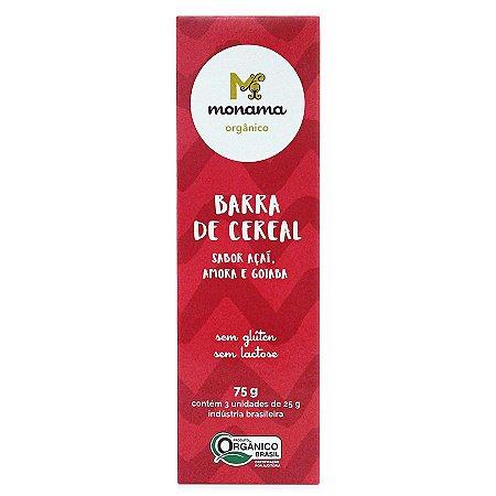 Tripack Barra de Cereal Monama sabor Açaí - 03 unidades de 25g - Sem Glúten