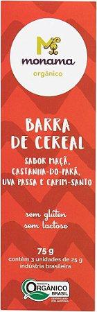 Barrinha de Cereal Orgânica Monama Saudável - Sabor Castanha do Pará, Uva Passa e Campim Santo - 3 unidades de 25g