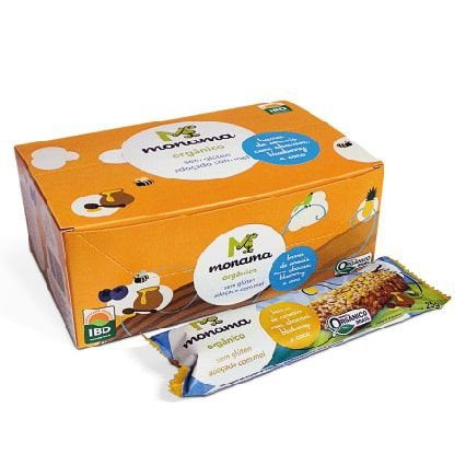 Display Barra de Cereal Monama sabor Abacaxi - 12 unidades de 25g - Sem Glúten