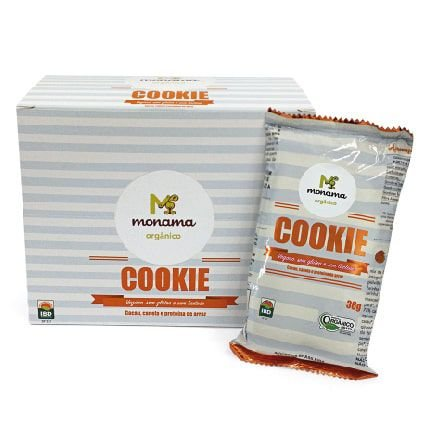 Display Mini Cookie orgânico de Cacau Monama - 12 unidades de 36g