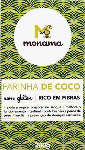 Farinha de Coco Monama Sem Glúten Saudável 200g