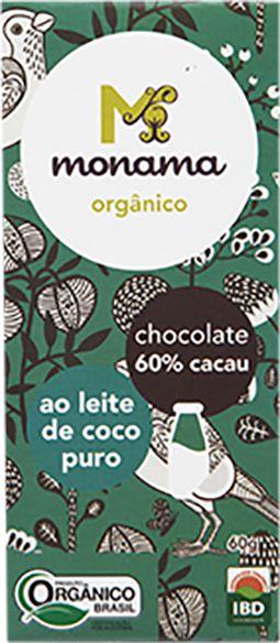 Chocolate 60% ao Leite de Coco Monama Vegano Orgânico 60g