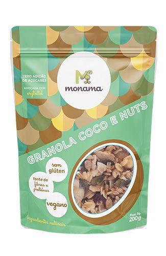 Granola Monama Coco e Nuts Saudável S/ Glúten S/Açucar 200g