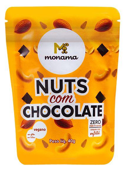 Snack de Nuts com Chocolate 80% Monama Sem Açúcar Vegano 40g