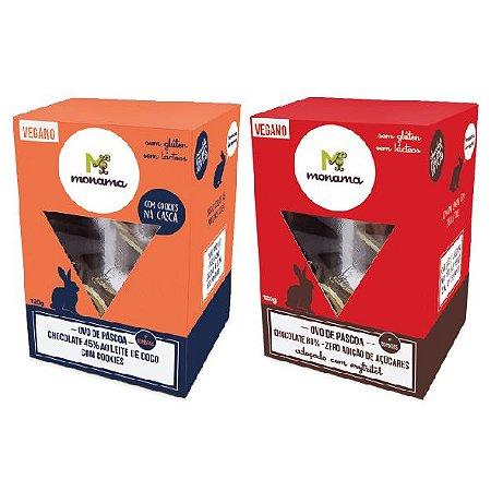Kit 2 Ovos de Páscoa - 1 Chocolate 45% com Cookies e 1 Chocolate 80% ZERO AÇÚCAR 120g