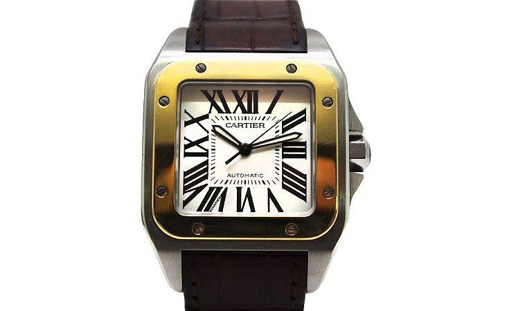 6aca35caf65 Cartier Santos 100 XL em aco e ouro