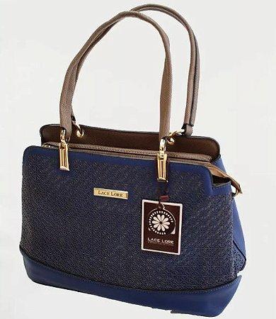 Bolsa Feminina Estruturada Azul Com Opção De Alça Transversal