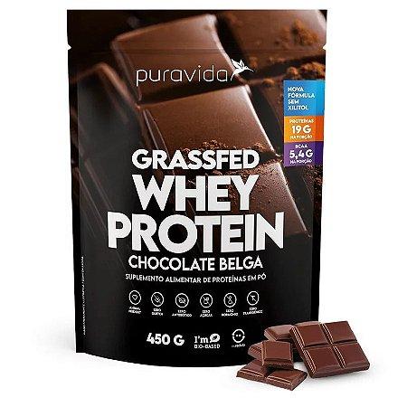 Whey protein grass fed sabor chocolate belga Puravida 450g