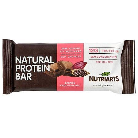 Barra de proteína sabor cacau e chocolate 70% Nutriarts 50g