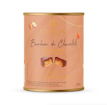 Lata chocolate belga com amendoim Luckau 200g