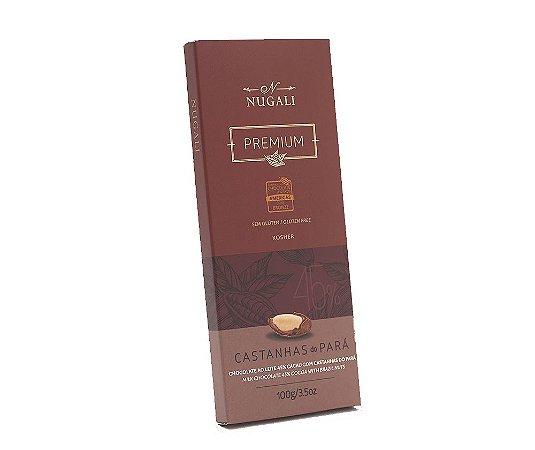 Tablete de chocolate ao leite com castanha do Pará Nugali 100g