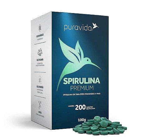 Spirulina premium Puravida 200 tabletes 500mg