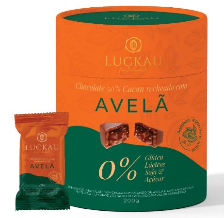 Bombom chocolate 50% cacau recheado com avelã vegano Luckau 200g