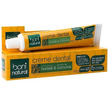 Creme dental com óleo natural de hortelã e cúrcuma Boni Natural 90g
