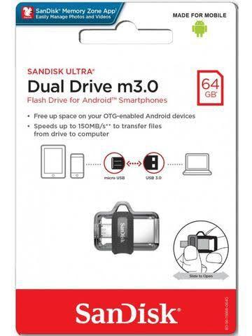 Pen Drive 64gb Sandisk Ultra Dual Drive USB 3.0