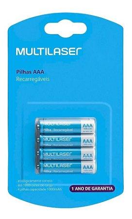 4 Pilhas Recarregável Multilaser AAA Palito 900mah