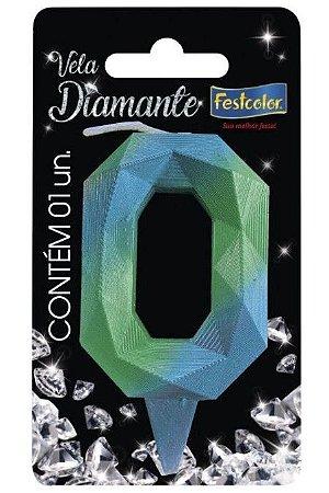 Vela Numeral Diamante - Azul/verde - número 0