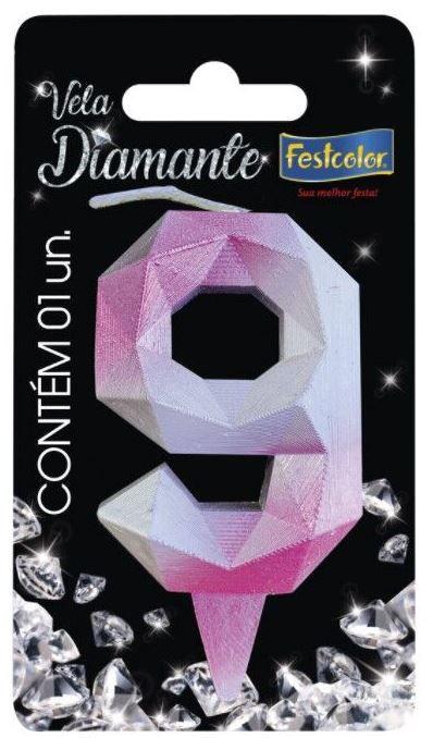 Vela Numeral Diamante -Rosa / Prateada - 9