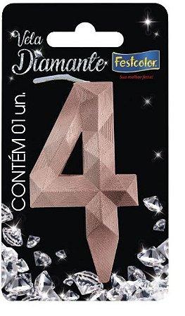 Vela Numeral Diamante -Rose Gold - Número 4