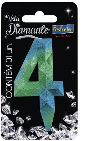 Vela Numeral Diamante - Azul/verde - número 4