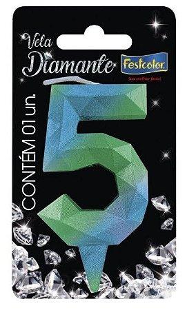 Vela Numeral Diamante - Azul/verde - número 5
