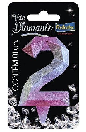 Vela Numeral Diamante -Rosa / Prateada - Número 2