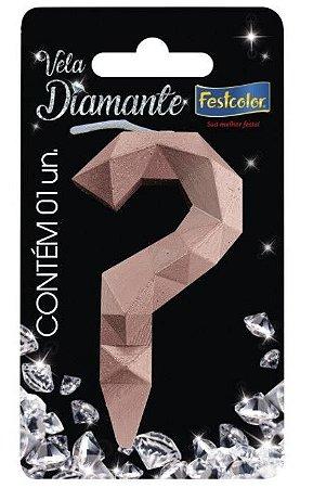 Vela Numeral Diamante -Rose Gold - interrogação