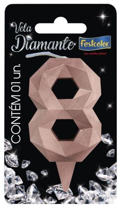 Vela Numeral Diamante -Rose Gold - Número 8