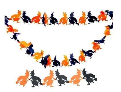 Guirlanda Bandeirola Bruxa de Papel Halloween