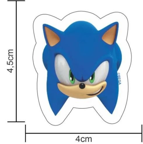 Aplique Impresso para Decoração Festa Sonic em EVA Piffer