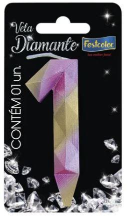 Vela Numeral Diamante - Rosa/ Dourado - número 1