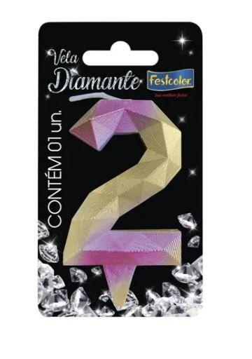 Vela Numeral Diamante - Rosa/ Dourado - número 2