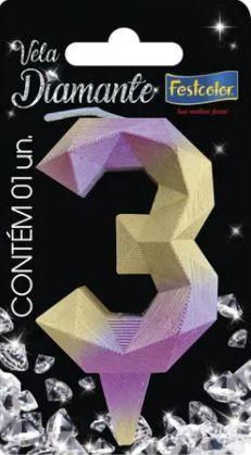 Vela Numeral Diamante - Rosa/ Dourado - número 3