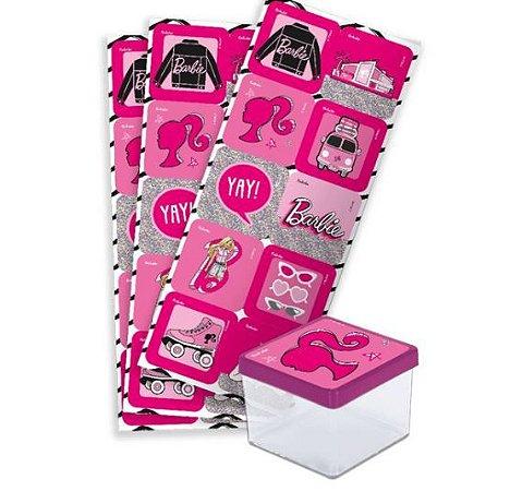 Adesivo Quadrado Festa Barbie - 30 Unidades