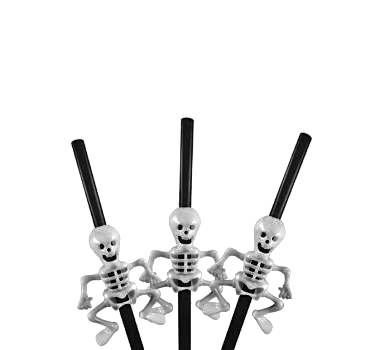 Canudo Plástico Esqueleto Halloween Preto - 05 unidades