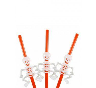 Canudo de Plástico Esqueleto Halloween  - 05 unidades
